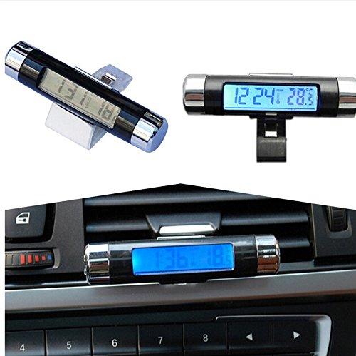fomccu coche termómetro reloj calendario LCD Clip-on Digital retroiluminación para Automotive