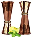 Rastogi Handicrafts Copper double Jigger cocktail bicchierini. 100% solido rame 2 mix perfetto Craft & Classic Drinks eccellente regali di Natale. Set di 2