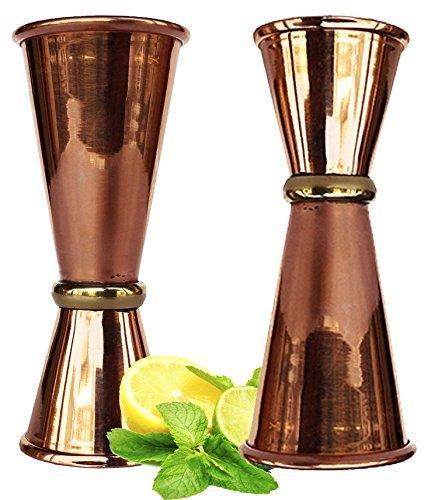 Rastogi artesanías cobre doble medidor cóctel vasos de chupito. 100% sólido cobre 2Mix perfecto para manualidades y regalos de Navidad Classic bebidas excelente. Set de 2