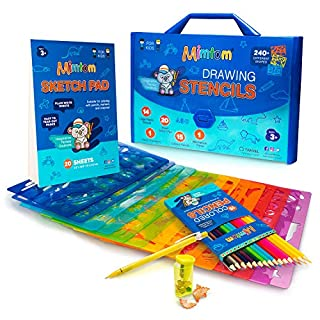 Mimtom Drawing Stencils Set for Kids and Boys | 51 Arts and Crafts Stencil Kits with over 240 Creative Shapes to Unleash Your Child's World of Imagination | Kid-Safe Fun Activity Toy for Ages 3 and Up
