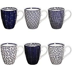 Tokyo Design Studio Le Bleu de Nîmes Tassen Set aus hochwertigem Porzellan - 6-er Set Tassen mit Henkel - jede Kaffeetasse / Teetasse fasst 380 ml - Spülmaschinenfest und mikrowellengeeignet