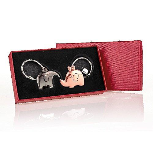 1 par lindo besos elefantes forma pareja llavero regalo de san valentín...