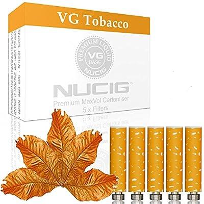 NUCIG 0MG Tobacco Refill cartomiser Filter | ***VG Premium | for e shisha e hookah e cigarette electronic cigarette ego from NUCIG