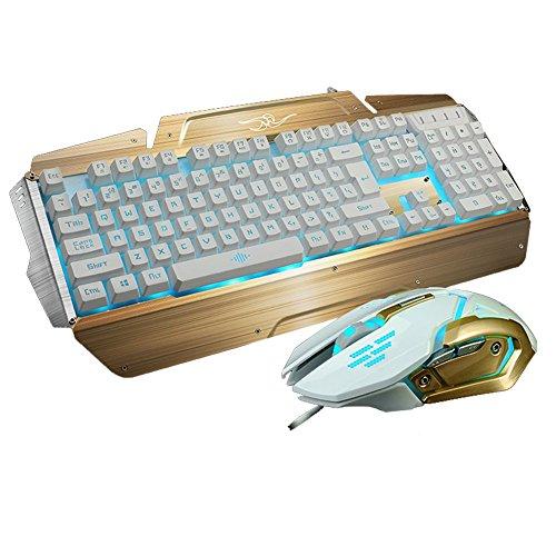 Gaming Tastatur und Maus Set - MFTEK USB verdrahtete LED 3 Farbe Backlit Luminous Gaming Tastatur und Maus Combo mit Maus Pad