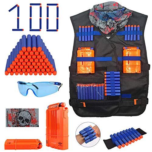 Desconocido Kit de Chaleco táctico para niños Juguetes - Kit de Chaleco táctico para niños Elite Balas de Espuma para Nerf N-Strike Elite Series con 100 Dardos de Recarga +2 Recargas de Clips