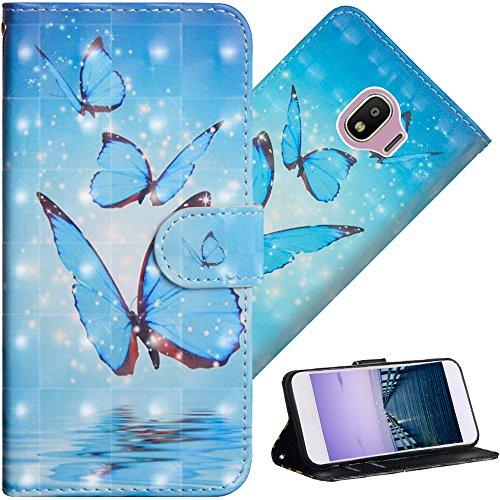 COTDINFOR Galaxy J2 Pro 2018 Hülle für Geschenk Lederhülle 3D-Effekt Kartenfächer Schutzhülle Protective Handy Tasche Schale Standfunktion Etui für Samsung J2 Pro 2018 Three Blue Butterflies YX.