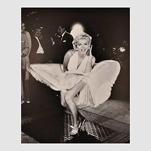 Kunstdruck Marilyn Monroe schwarz weiß lachen das verflixte 7. siebte Jahr wehendes weißes Kleid 50th Klassiker 50er Hollywood Stars 40 x 50 cm ohne Rahmen
