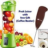 Shoppoworld Juicer Cup, Electric Self Blending Juicer Bottle Rechargeable Fruit Juice Mixer With Charging Cable Portable For Home And Travel With Free Gift (Coffee Beater)