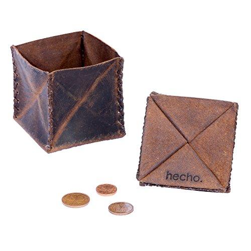 hecho. hecho. Münzbeutel - echtes Leder, handgefertigt & Fair-Trade (Münzbörse Minigeldbörse Kleingeldbörse Geldsäckchen)