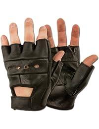 Gants Mitaines 100% Cuir US Army - Coloris Noir - Taille Médium - Airsoft - Paintball - Outdoor - Moto - Conduite - Biker