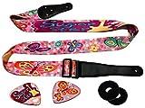 Mädchenhaftes Rosa Funk Gitarren Gurt Set inklusive 2 Gurten & 2 passenden Plektren. Verstellbarer Polyester Gitarren Gurt – Geeignet für Bass, Elektrische & Akustische Gitarren.