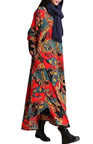 BININBOX Damen Baumwolle Leinen Kleid Langarm Asymmetrische Patchwork  Blumendruck Leinenkleid Maxikleid Rot