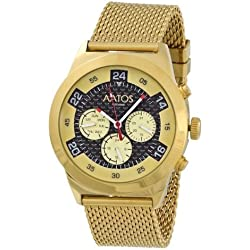 Aatos WedusGGB Men's Automatic Gold Plated Stainless Steel Wrist Watch with a Carbon Fiber Face