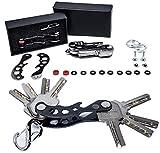 BSTcentelha Porte-Clés Compact L'organisateur de Porte-Clés Intelligent (2-14 Clés), Etendu et Portable, Porte-clés en Aluminium avec Boucle de Clé de Voiture (Noir)