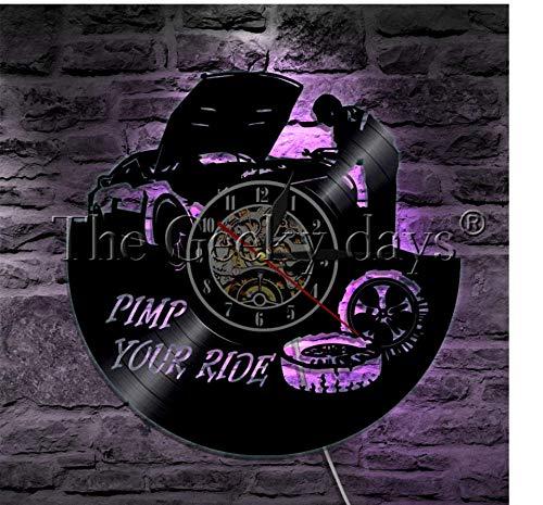 Meccanico Car Service Pimp Your Ride Disco da vinile Orologio da parete Camion di guida e auto Riparazione pneumatici Decorazione moderna Orologio da parete