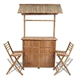 Festnight Bambus Barset Gartenbar Set inkl. 1 Bartisch und 2 Klappstühlen Gartengarnitur Sitzgruppe