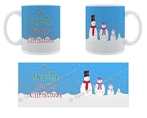 Deville la famille de Noël Motif bonhomme de neige de Noël Famille nom Tasse