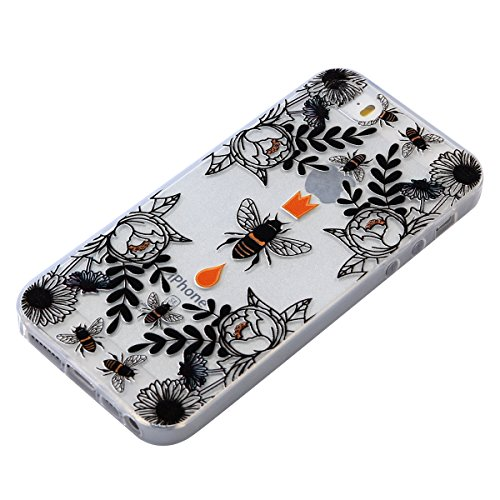 Per iPhone 5S / SE Apple, Cover Bumper iPhone 5S Silicone, Custodia iPhone 5SE Trasparente, Surakey Lace Fiore Mandala Gatto Design Creativo Morbida Shell Gel Gomma TPU Case Liscio Leggero Protettivo  Api Nero
