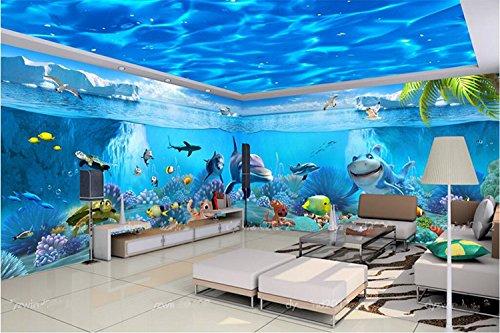Poowef 3d wallpaper il tema marino murale vivaio magico mondo sottomarino cafe 3d wallpaper parete carta da parati a soffitto