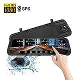Camara Coche Espejo Grabadora Doble con GPS,1080p Full-HD Espejo Retrovisor con Pantalla de Táctil de 9.66 pulgadas G-Sensor/Grabación de Bucle DashCam Delantera y Trasera