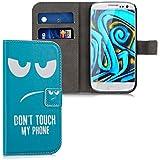 kwmobile Funda chic de cuero sintético para el Samsung Galaxy S3 i9300 / S3 Neo i9301 con una práctica función de soporte - ¡Diseño Don't touch my phone en blanco turquesa!