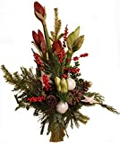 WEIHNACHTSSTRAUß | Blumenstrauß | Tanne AMARYLLIS weiß rot | WEIHNACHTSDEKO Weiß |