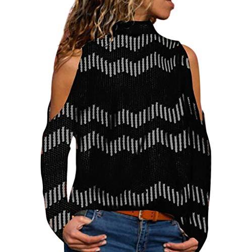 ESAILQ Frauen beiläufige Streifen, die Lange ärmellose TrägershirtTShirtBluse drucken(X-Large,Schwarz)