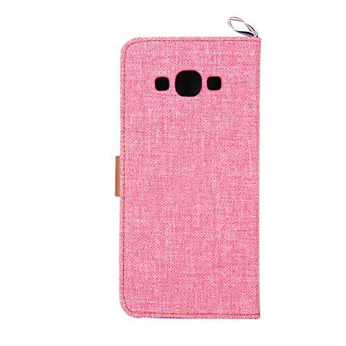Samsung Galaxy A8 Hülle,Samsung Galaxy A8 Case,Cozy Hut Cowboy Stil PU Leder Handyhülle Holster Flip Cover Vorne Buckle Handytasche Tasche Halfter Folio Schutzhülle Protective Schale mit Standfunktion rosa