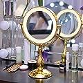 SPIEGAL 9-Zoll doppelseitige LED beleuchtete Schminkspiegel Desktop Spiegel europäische Prinzessin verheiratet Spiegel tragbare Vergrößerungsspiegel