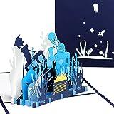 3D Pop Up Karte 'Taucher & Unterwasserwelt' - tolle Geburtstagskarte und Reisegutschein,...