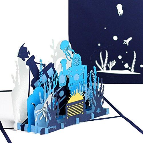 """3D Pop Up Karte """"Taucher & Unterwasserwelt"""" - tolle Geburtstagskarte und Reisegutschein, Einladungskarte zum Kindergeburtstag, Geschenkgutschein zum Schwimmen, Tauschen & Schnorcheln"""
