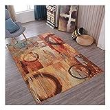 DAMENGXIANG Moderner Rotbrauner Abstrakter Weicher Teppich Für Wohnzimmer Couchtisch Schlafzimmer Rutschfeste Bodenmatte Wohnkultur Fuß Pad 70 × 180 cm
