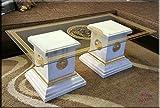 InterDecorShop Designer Säulen Couchtisch Medusa Mäander Wohnzimmertisch Tisch Glastisch Säule