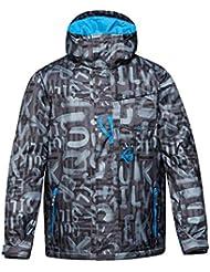 Quiksilver Mens Mission Printed Water Resistant Ski Snow Jacket Grey