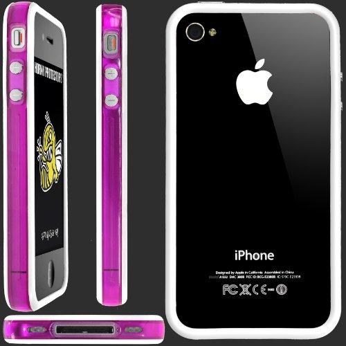 Horny Protectors Bumper avec boutons en métal pour Apple iPhone 4(non 4S) Violet/blanc transparent