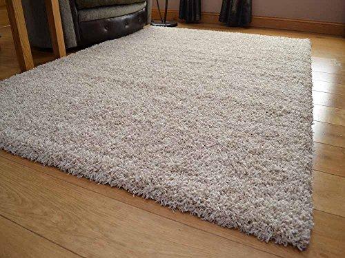Tacto suave Shaggy Color Beige suave y gruesa 5 cm alfombra de pelo denso. Disponible en 7 tamaños, beige, 160 cm x 220 cm