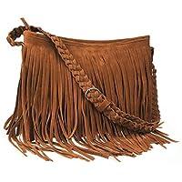 Ayliss Hippie Suede Fringe Tassel Messenger Bag Women Hobo Shoulder Bags Crossbody Handbag 4Colors (Brown)