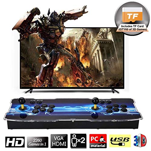 SeeKool 3D Pandora X Arcade Game Console, Joystick 2 Giocatori Arcade Console con 2260 Giochi, 1920x1080 Full HD, Supporto esteso Scheda TF e Disco USB, per PC / Laptop / TV / PS4