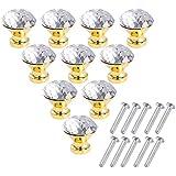 LONGSHENG 10 Pack Crystal Cabinet Knobs Handles Diamond Shaped Dresser Drawer Pulls for Kitchen Batchroom Cupboard
