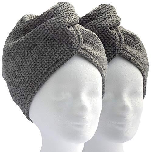 ELEXACARE Haarturban, Kopfhandtuch mit Knopf (2 Stück, anthrazit) Mikrofaser schnell trocknend