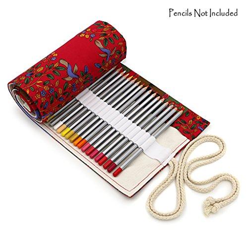 Btsky Farbenfrohe Buntstift-Rolle, Halter, Organizer, aus Segeltuch, mitHalterungen für 72 Buntstifte, die Stifte sind nicht im Lieferumfang enthalten Red Tree
