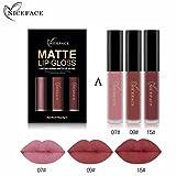 ESAILQ Neue 3 STÜCKE Neue Mode Wasserdicht Matt Flüssigen Lippenstift Kosmetische Lipgloss Kit (E)