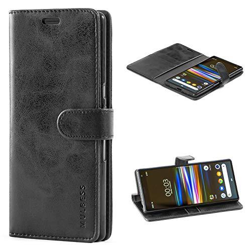 Mulbess Handyhülle für Sony Xperia 10 Plus Hülle, Leder Flip Case Schutzhülle für Sony Xperia 10 Plus Tasche, Schwarz