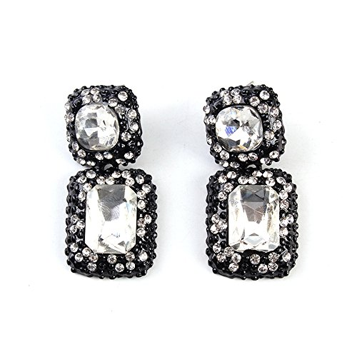 TWOPAGES Boutique Crystal Stud White Dangle Earrings Jewelry Gift for Women