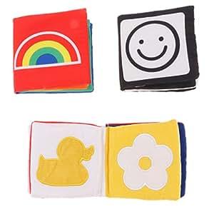 D DOLITY Set Di 3 Pezzi Giocattolo Infantile Libro Panno Apprendimento Forme Colore Neonato Poliestere