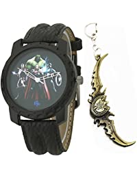 LMP3 Marvel Avengers Multicolor Dial Black Leather Strap Analog Wrist Watch With Keychain For Kids And Boys (AW01349)