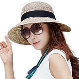 UPF 50 Floppy Summer Sun Beach Crushable Panama Strw Hats for Women Wide Brim Foldable 57cm Coffee