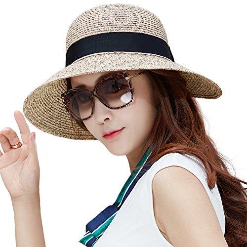 SIGGI kaffeebrauner Stroh faltbarer Sommerhut UPF 50 + mit Sonnen Shade Strand breite Krempe für Damen