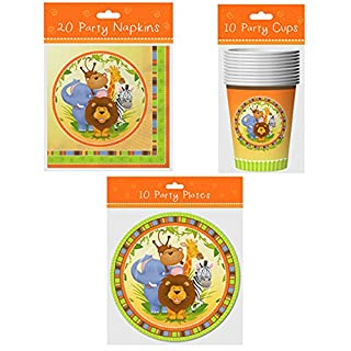 COMPLETE UNISEX 3 PIECE SET JUNGLE BIRTHDAY PARTY PACK FOR 10 CHILDREN, 9'' PLATE, CUPS & NAPKINS