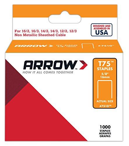 Arrow 160647 T75 Boîte de 1000 cavaliers 16 mm pour câble ø 12 mm
